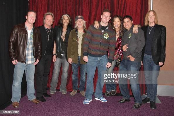 Eugene Laielli Joey Kramer Joe Perry Brad White Darin Lorady Steven Tyler Thomas Moynihan and Tom Hamilton attend Aerosmith Meets Atlantic City...