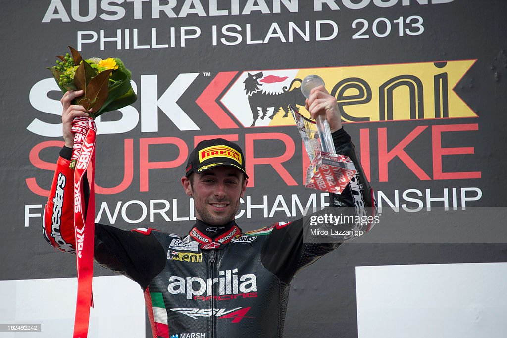 <a gi-track='captionPersonalityLinkClicked' href=/galleries/search?phrase=Eugene+Laverty&family=editorial&specificpeople=4253466 ng-click='$event.stopPropagation()'>Eugene Laverty</a> of Ireland and Aprilia Racing Team celebrates on the podium after winning race 2 of the first round of 2013 Superbike FIM World Championship at Phillip Island Grand Prix Circuit on February 24, 2013 in Phillip Island, Australia.