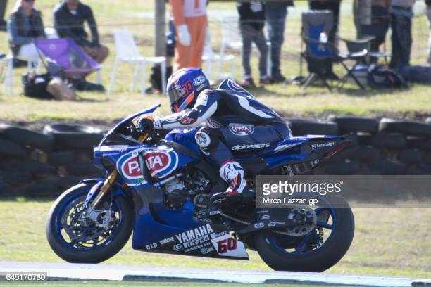 Eugene Laverty of Ireland and Milwaukee Aprilia heads down a straight during round one of the FIM World Superbike Championship at Phillip Island...