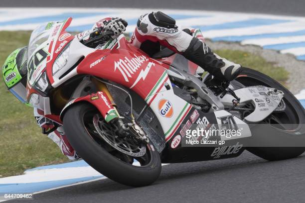 Eugene Laverty of Ireland and Milwaukee Aprilia rounds the bend during practice ahead of round one of the FIM World Superbike Championship at Phillip...