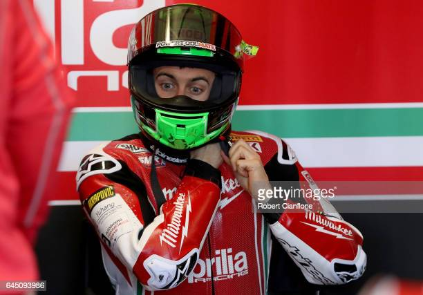 Eugene Laverty of Ireland and rider of the Milwaukee Aprilia prepares for Superpole for round one of the FIM World Superbike Championship at Phillip...