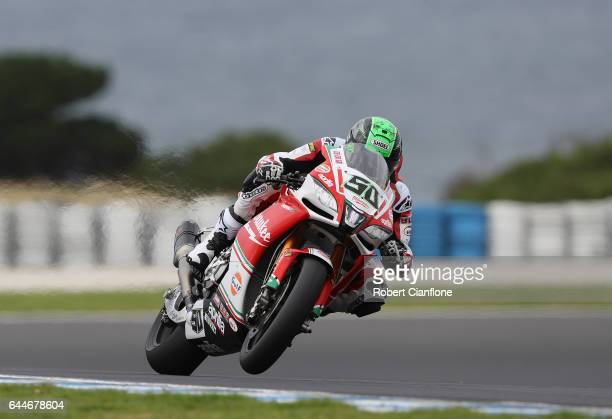 Eugene Laverty of Ireland rides the Milwaukee Aprilia during practice ahead of round one of the FIM World Superbike Championship at Phillip Island...