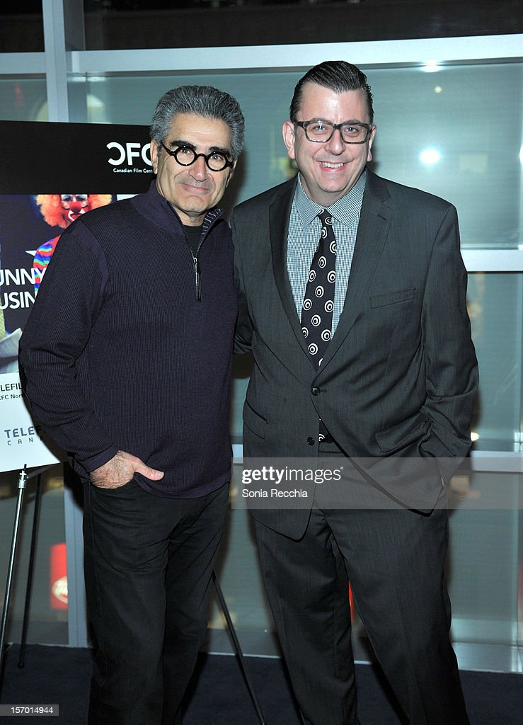 <a gi-track='captionPersonalityLinkClicked' href=/galleries/search?phrase=Eugene+Levy&family=editorial&specificpeople=215201 ng-click='$event.stopPropagation()'>Eugene Levy</a> and Richard Crouse attend CFC Presents An Evening With Leslie Mann And Judd Apatow at TIFF Bell Lightbox on November 26, 2012 in Toronto, Canada.