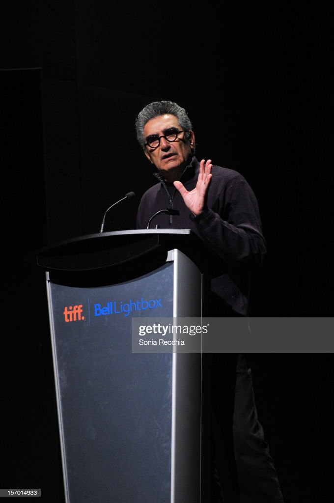 <a gi-track='captionPersonalityLinkClicked' href=/galleries/search?phrase=Eugene+Levy&family=editorial&specificpeople=215201 ng-click='$event.stopPropagation()'>Eugene Levy</a> attends CFC Presents An Evening With Leslie Mann And Judd Apatow at TIFF Bell Lightbox on November 26, 2012 in Toronto, Canada.