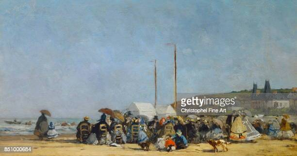 Eugene Louis Boudin French School The Beach at Trouville 1864 Oil on canvas 026 x 048 Paris musee d Orsay