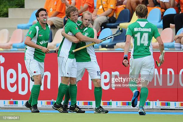 Eugene Magee of Ireland celebrates with team mates after scoring his team's first goal during the Men´s EuroHockey Championships 2011 Pool B match...
