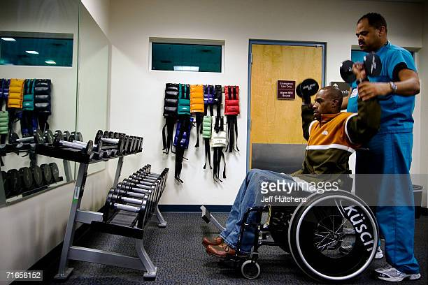 Eugene Simpson from Dale City Virginia goes through physical therapy at the Veterans Affairs Medical Center in Washington DC with Michael Minor a...