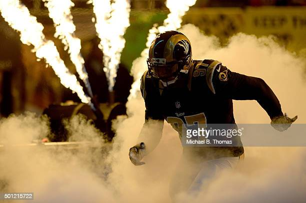 Eugene Sims of the St Louis Rams takes to the field during introductions prior to a game against the Detroit Lions at the Edward Jones Dome on...