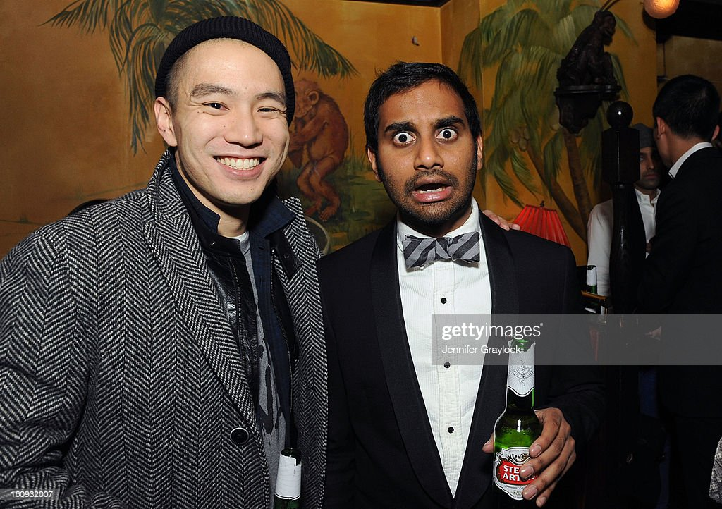 Eugene Tong and Actor Aziz Ansari attend the Band Of Outsiders Fashion Week Mens Collection After Party held at the Monkey Bar on February 7, 2013 in New York City.