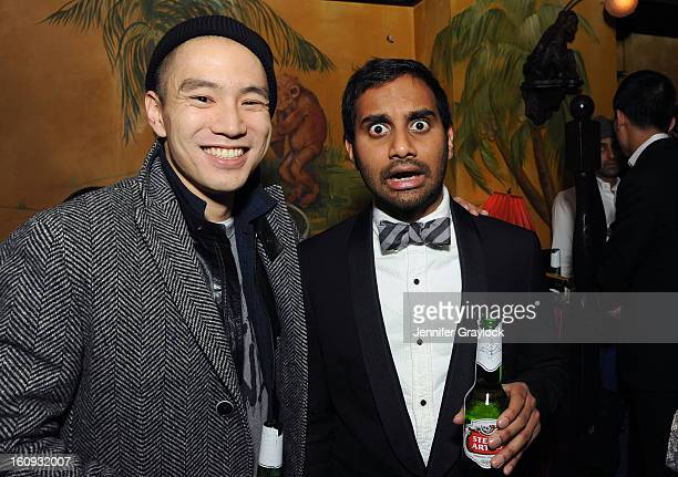 Eugene Tong and Actor Aziz Ansari attend the Band Of Outsiders Fashion Week Mens Collection After Party held at the Monkey Bar on February 7 2013 in...
