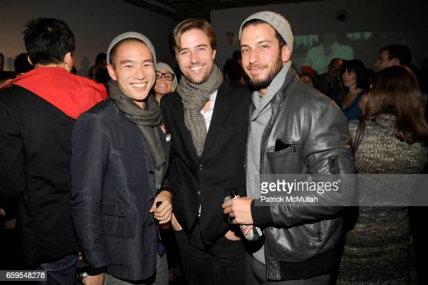 Eugene Tong Sam Broekema and Josh Peskowitz attend LLBean Signature Spring 2010 Preview Party at Hosfelt Gallery on October 14 2009 in New York City