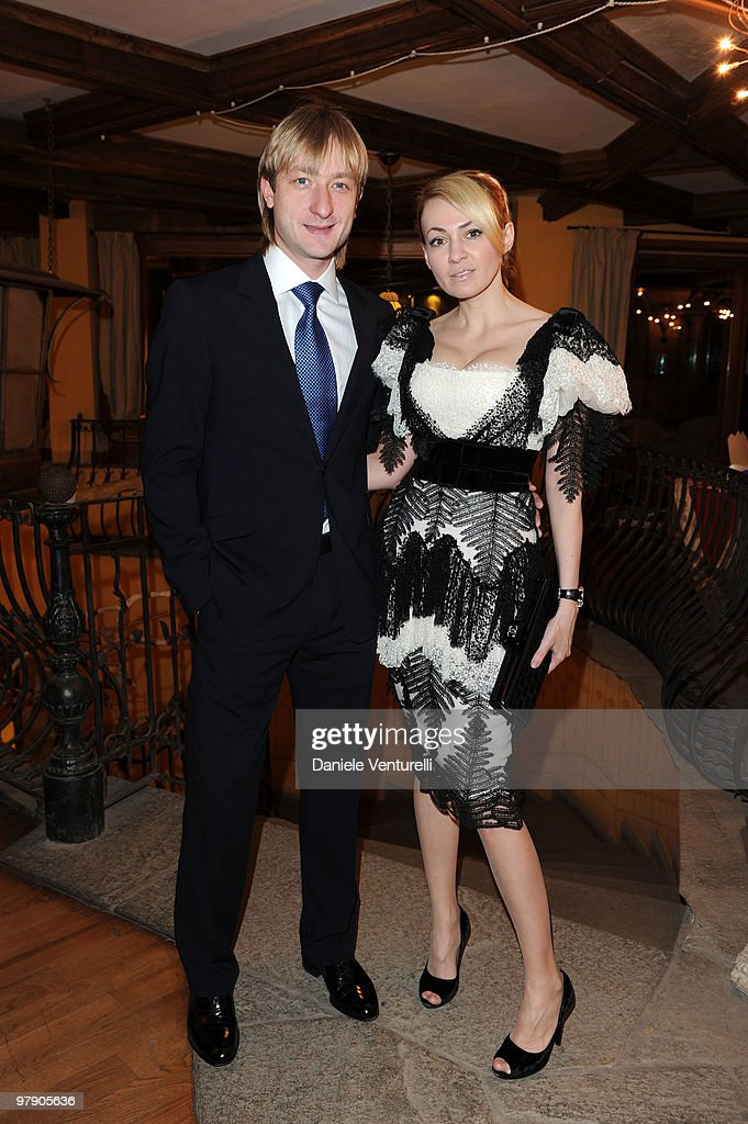 Eugeni Plushenko and Yana Rudkovskaya attend the 5th World Stars Ski Event held at Grand Hotel Sestriere on March 20, 2010 in Sestriere, Italy.