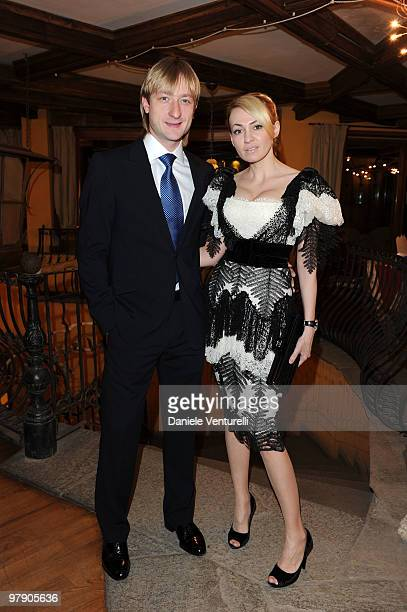 Eugeni Plushenko and Yana Rudkovskaya attend the 5th World Stars Ski Event held at Grand Hotel Sestriere on March 20 2010 in Sestriere Italy