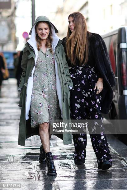 Eugenia Niarchos and Bianca Brandolini d'Adda are seen outside the Valentino show during Paris Fashion Week Womenswear Fall/Winter 2017/2018 on March...