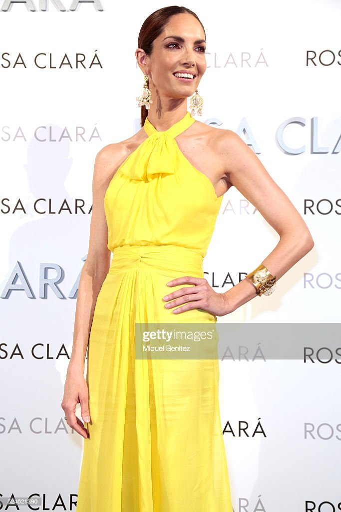 Eugenia Silva poses during a photocall for Rosa Clara's bridal fashion show during 'Barcelona Bridal Fashion Week 2016' at Fira Montjuic on April 26...