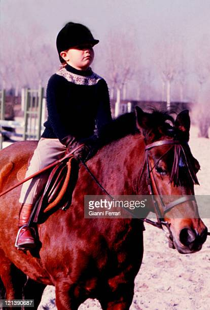 Eugenia XI Duchess of Montoro daughter of the Duchess Cayetana of Alba riding a horse at the 'Club de Campo' Madrid Spain