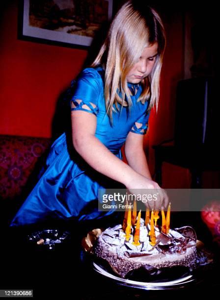 Eugenia XI Duchess of Montoro daughter of the Duchess Cayetana of Alba with her birthday cake at the 'Palacio de Liria' Madrid Spain