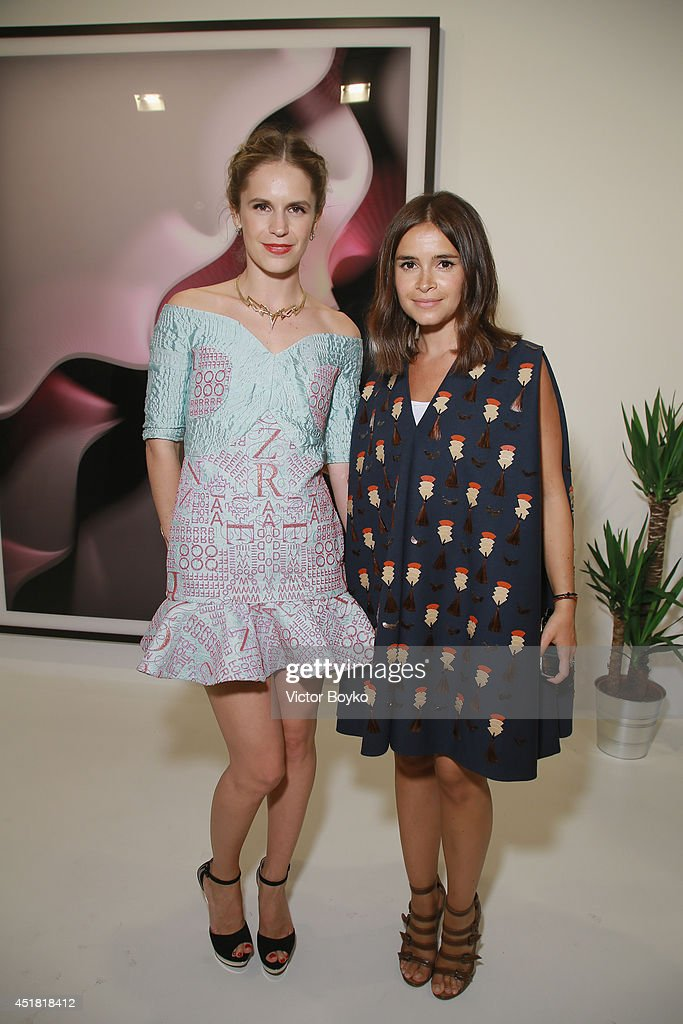Eugenie and Miiroslava Duma at theVenyx new collection cocktail launch as part of Paris Fashion Week HauteCouture Fall/Winter 20142015 at Gagosian...