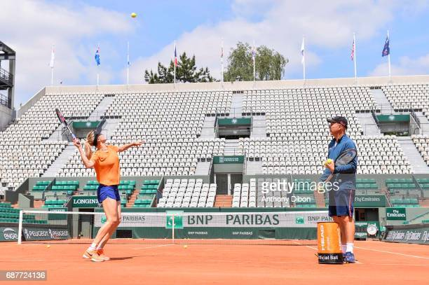 Eugenie Bouchard and his coach Thomas Hogstedt during training session of the 2017 French Open at Roland Garros on May 24 2017 in Paris France