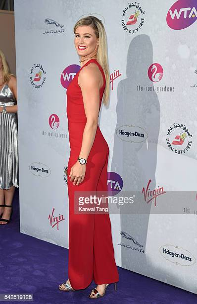 Eugenie Bouchard arrives for the WTA PreWimbledon Party at Kensington Roof Gardens on June 23 2016 in London England