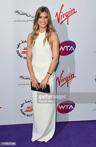 Eugenie Bouchard attends the WTA PreWimbledon Party at Kensington Roof Gardens on June 25 2015 in London England