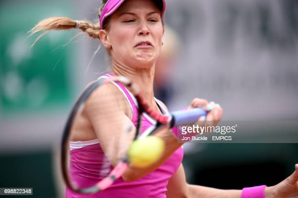 Eugenie Bouchard during her 1st round women's singles match against Kristina Mladenovic on day three of the French Open at Roland Garros on May 26...