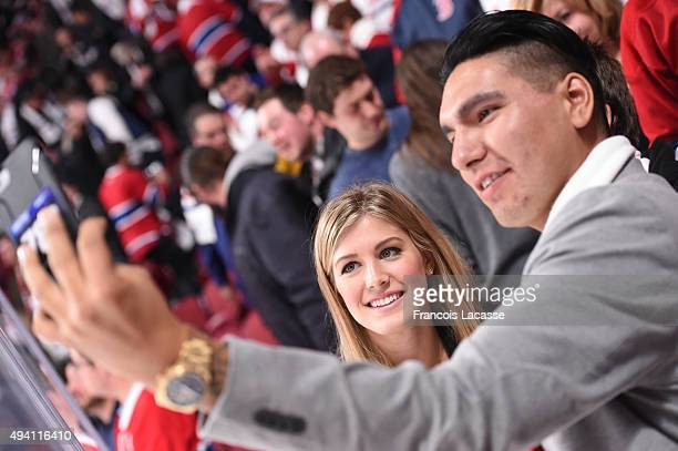 Eugenie Bouchard during the NHL game against the Montreal Canadiens and the Toronto Maple Leafs at the Bell Centre on October 24 2015 in Montreal...