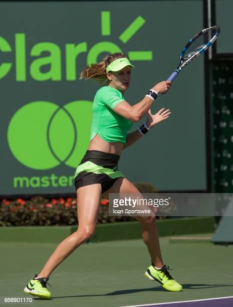 Eugenie Bouchard in action during the Miami Open on March 22 at the Tennis Center at Crandon Park in Key Biscayne FL