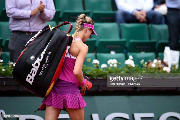 Eugenie Bouchard Kristina Mladenovic leaves the court after losing her 1st round women's singles match against Kristina Mladenovic on day three of...