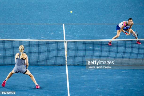 Eugenie Bouchard of Canada and HaoChing Chan in action during the Prudential Hong Kong Tennis Open 2017 women's double match between Shelby Rogers of...