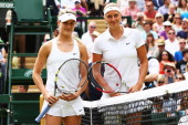 Eugenie Bouchard of Canada and Petra Kvitova of Czech Republic pose for a picture before the Ladies' Singles final match on day twelve of the...