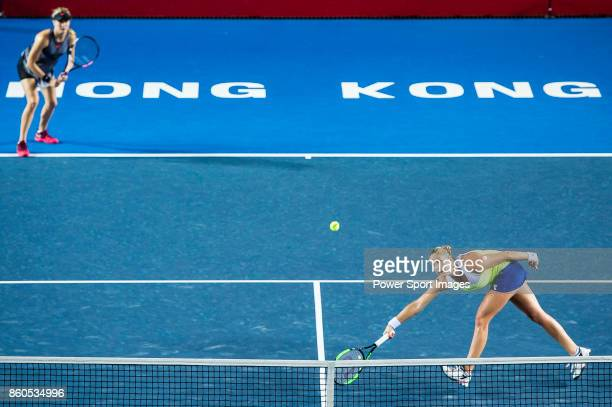 Eugenie Bouchard of Canada and Shelby Rogers of USA in action during the Prudential Hong Kong Tennis Open 2017 women's double match against HaoChing...