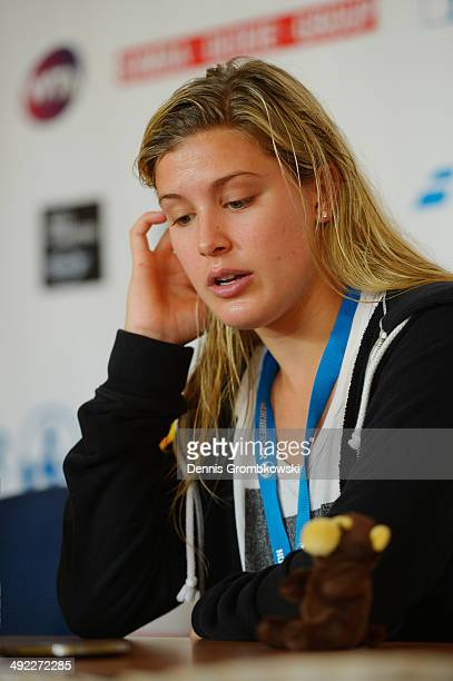 Eugenie Bouchard of Canada attends a press conference during Day 3 of the Nuernberger Versicherungscup on May 19 2014 in Nuremberg Germany