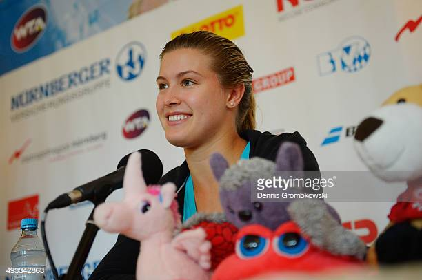 Eugenie Bouchard of Canada attends a press conference during Day 7 of the Nuernberger Versicherungscup on May 23 2014 in Nuremberg Germany