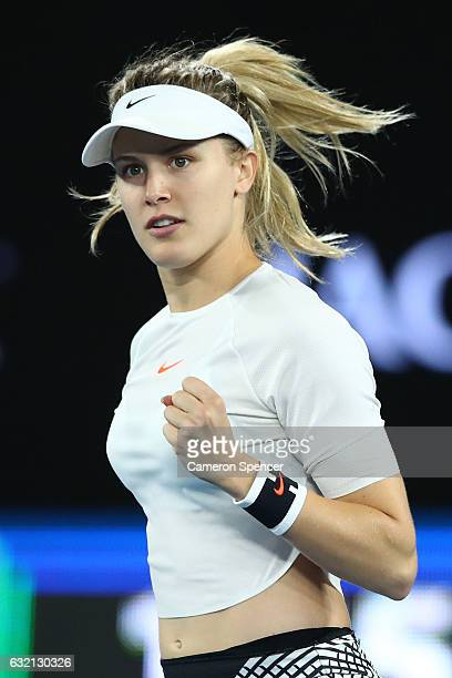 Eugenie Bouchard of Canada celebrates a point in her third round match against Coco Vandeweghe of the United States on day five of the 2017...