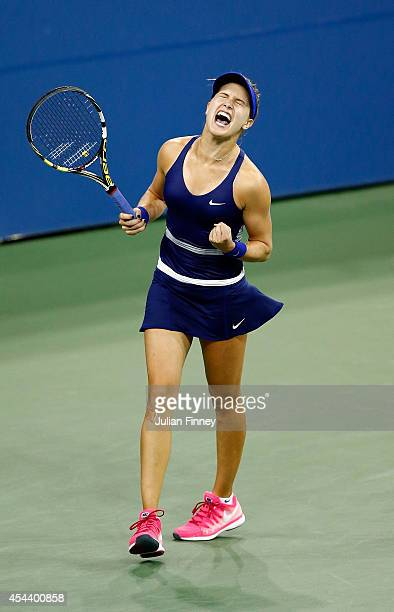 Eugenie Bouchard of Canada celebrates defeating Barbora Zahiavova Strycove of the Czech Republic on Day Six of the 2014 US Open at the USTA Billie...
