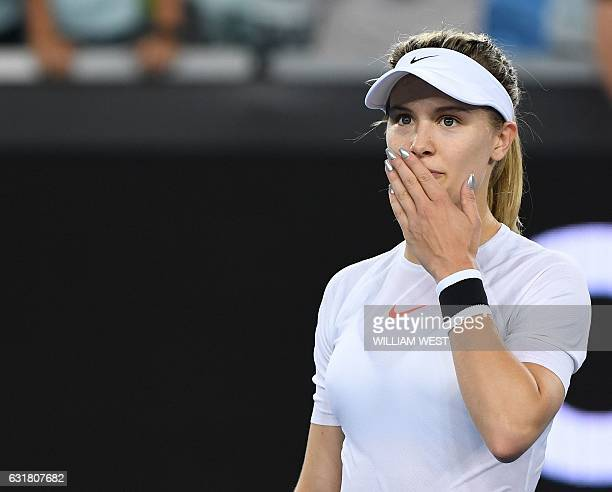 Eugenie Bouchard of Canada celebrates her win against Louisa Chirico of Italy during their women's singles first round match on day one of the...