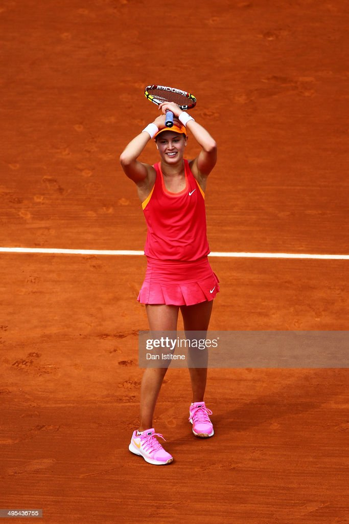 <a gi-track='captionPersonalityLinkClicked' href=/galleries/search?phrase=Eugenie+Bouchard&family=editorial&specificpeople=5678779 ng-click='$event.stopPropagation()'>Eugenie Bouchard</a> of Canada celebrates her win during her women's singles quarter-final match against Carla Suarez Navarro of Spain on day ten of the French Open at Roland Garros on June 3, 2014 in Paris, France.