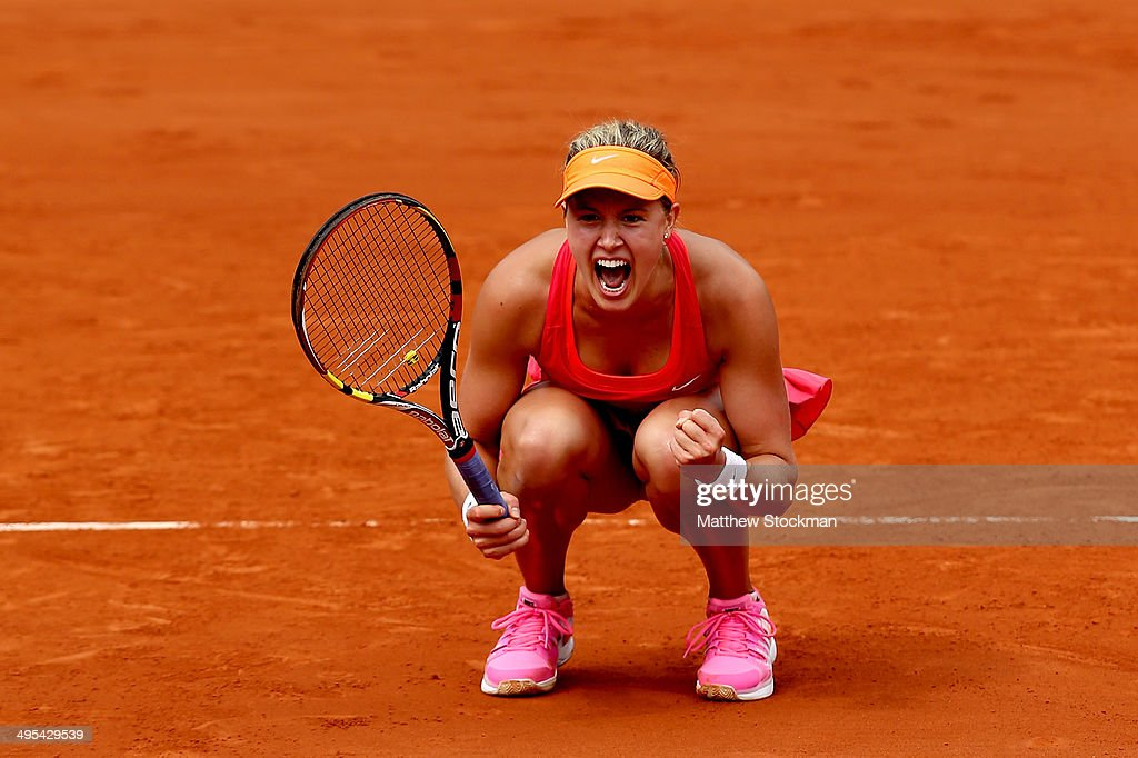 <a gi-track='captionPersonalityLinkClicked' href=/galleries/search?phrase=Eugenie+Bouchard&family=editorial&specificpeople=5678779 ng-click='$event.stopPropagation()'>Eugenie Bouchard</a> of Canada celebrates match point during her women's singles quarter-final match against Carla Suarez Navarro of Spain on day ten of the French Open at Roland Garros on June 3, 2014 in Paris, France.