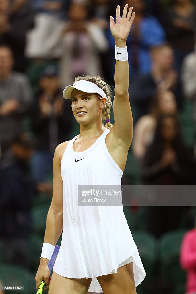 <a gi-track='captionPersonalityLinkClicked' href=/galleries/search?phrase=Eugenie+Bouchard&family=editorial&specificpeople=5678779 ng-click='$event.stopPropagation()'>Eugenie Bouchard</a> of Canada celebrates victory during the Ladies Singles first round match against Magdalena Rybarikova of Slovakia on day three of the Wimbledon Lawn Tennis Championships at the All England Lawn Tennis and Croquet Club on June 29, 2016 in London, England.
