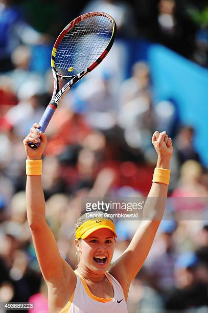 Eugenie Bouchard of Canada celebrates winning her first WTA title against Karolina Pliskova of Czech Republic during Day 8 of the Nuernberger...