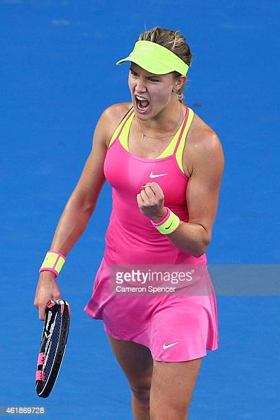 Eugenie Bouchard of Canada celebrates winning her second round match against Kiki Bertens of the Netherlands during day three of the 2015 Australian...