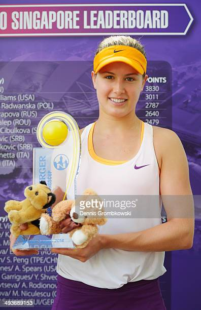 Eugenie Bouchard of Canada celebrates with the trophy after defeating Karolina Pliskova of Czech Republic during Day 8 of the Nuernberger...