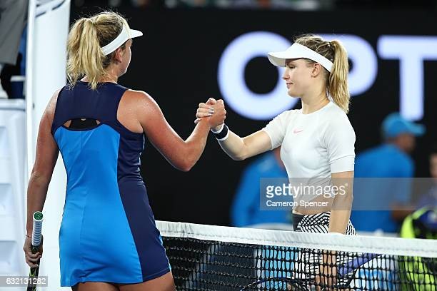 Eugenie Bouchard of Canada congratulates Coco Vandeweghe of the United States on winning her third round match on day five of the 2017 Australian...