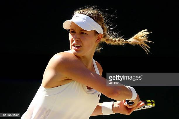 Eugenie Bouchard of Canada during her Ladies' Singles semifinal match against Simona Halep of Romania on day ten of the Wimbledon Lawn Tennis...