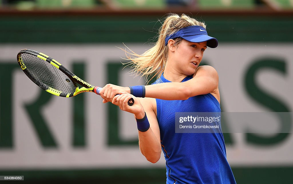 <a gi-track='captionPersonalityLinkClicked' href=/galleries/search?phrase=Eugenie+Bouchard&family=editorial&specificpeople=5678779 ng-click='$event.stopPropagation()'>Eugenie Bouchard</a> of Canada hits a backhand during the Ladies Singles second round match against Timea Bacsinszky of Switzerland on day five of the 2016 French Open at Roland Garros on May 26, 2016 in Paris, France.