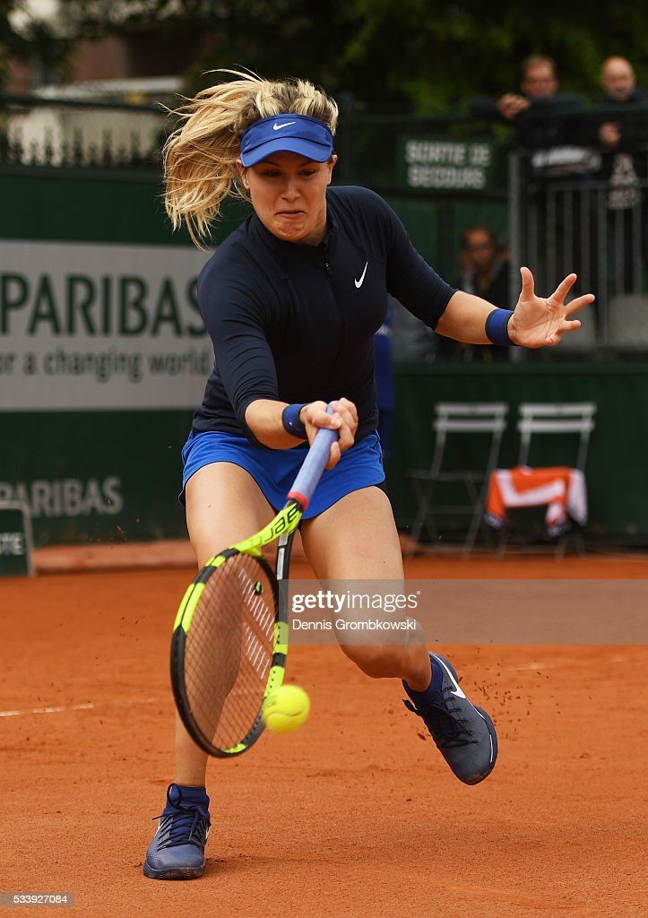 <a gi-track='captionPersonalityLinkClicked' href=/galleries/search?phrase=Eugenie+Bouchard&family=editorial&specificpeople=5678779 ng-click='$event.stopPropagation()'>Eugenie Bouchard</a> of Canada hits a forehand during the Ladies Singles first round match against Laura Siegemund of Germany on day three of the 2016 French Open at Roland Garros on May 24, 2016 in Paris, France.