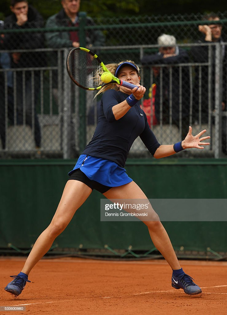 Eugenie Bouchard of Canada hits a forehand during the Ladies Singles first round match against Laura Siegemund of Germany on day three of the 2016 French Open at Roland Garros on May 24, 2016 in Paris, France.