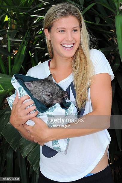 Eugenie Bouchard of Canada holding a Wombat at the player Cafe during day 10 of the 2014 Australian Open at Melbourne Park on January 22 2014 in...