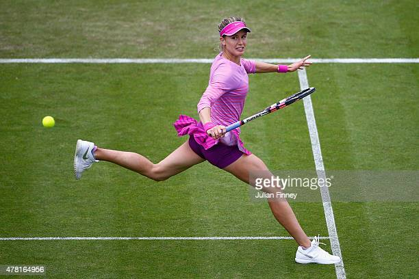 Eugenie Bouchard of Canada in action against Alison Riske of USA during the Aegon International day three at Devonshire Park on June 23 2015 in...